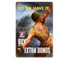 U.S. WW2 Vintage Metal Sign: Buy War Bonds- Pineapple Grenade